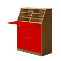 "Bureau Enfant ""Hobby"" 108cm Naturel & Rouge"