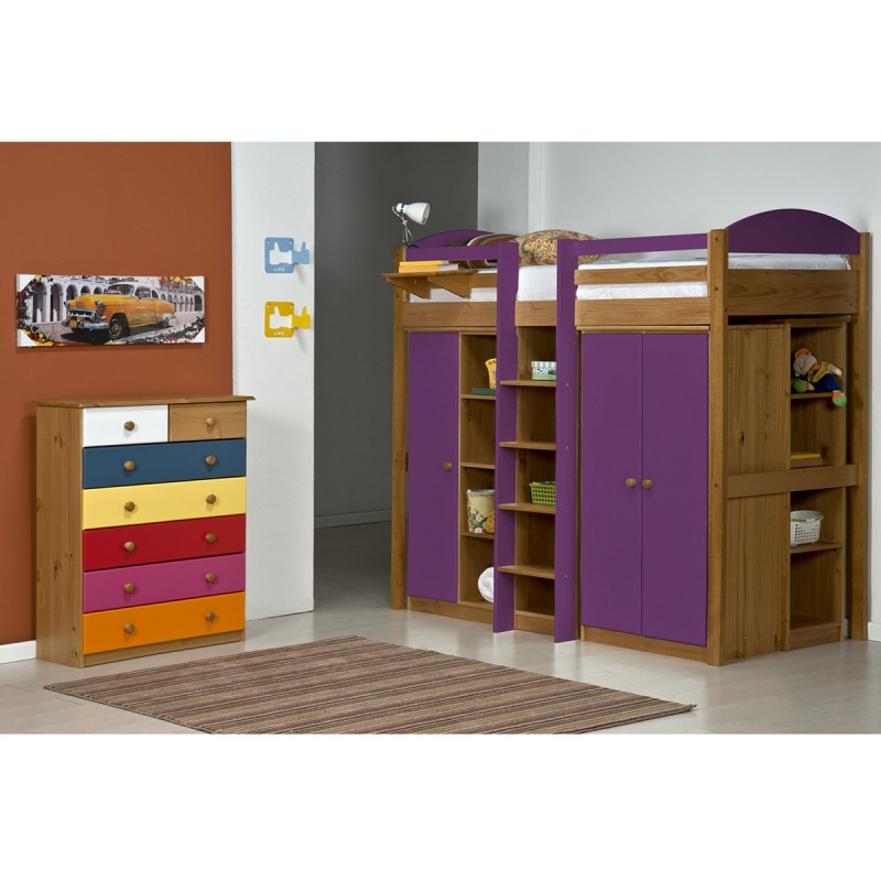 lit mezzanine haut maximus 90x190cm naturel lilas. Black Bedroom Furniture Sets. Home Design Ideas
