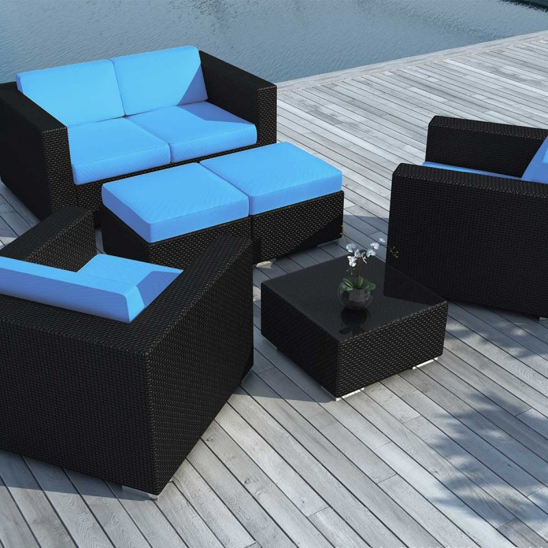 salon de jardin en r sine tress e portofino turquoise noir. Black Bedroom Furniture Sets. Home Design Ideas