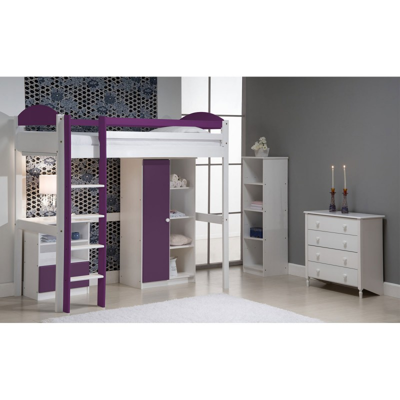 lit mezzanine haut maximus 90x190cm blanc lilas. Black Bedroom Furniture Sets. Home Design Ideas