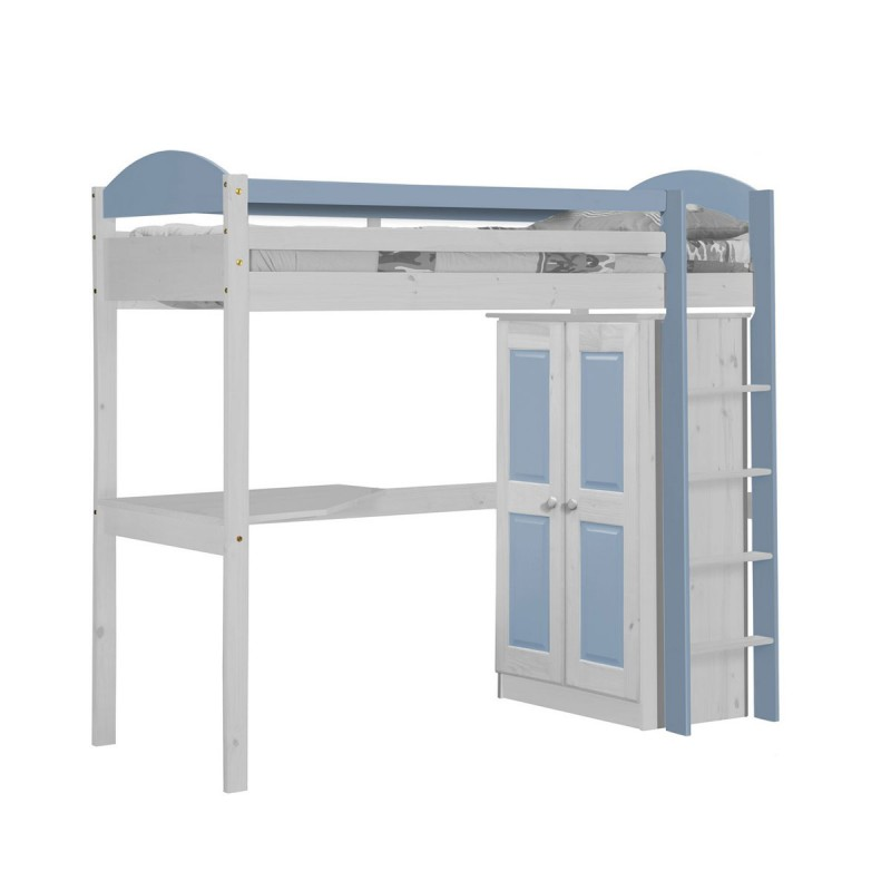 pack 1 lit mezzanine haut maximus 90x190cm blanc bleu clair. Black Bedroom Furniture Sets. Home Design Ideas