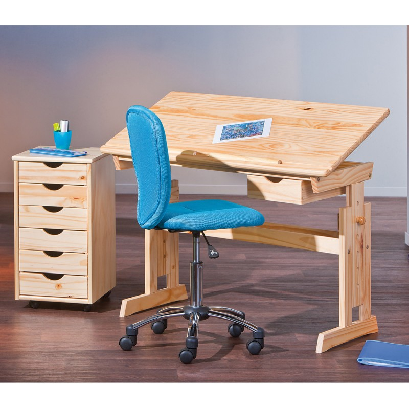Caisson de bureau 6 tiroirs school naturel for Bureau 6 tiroirs