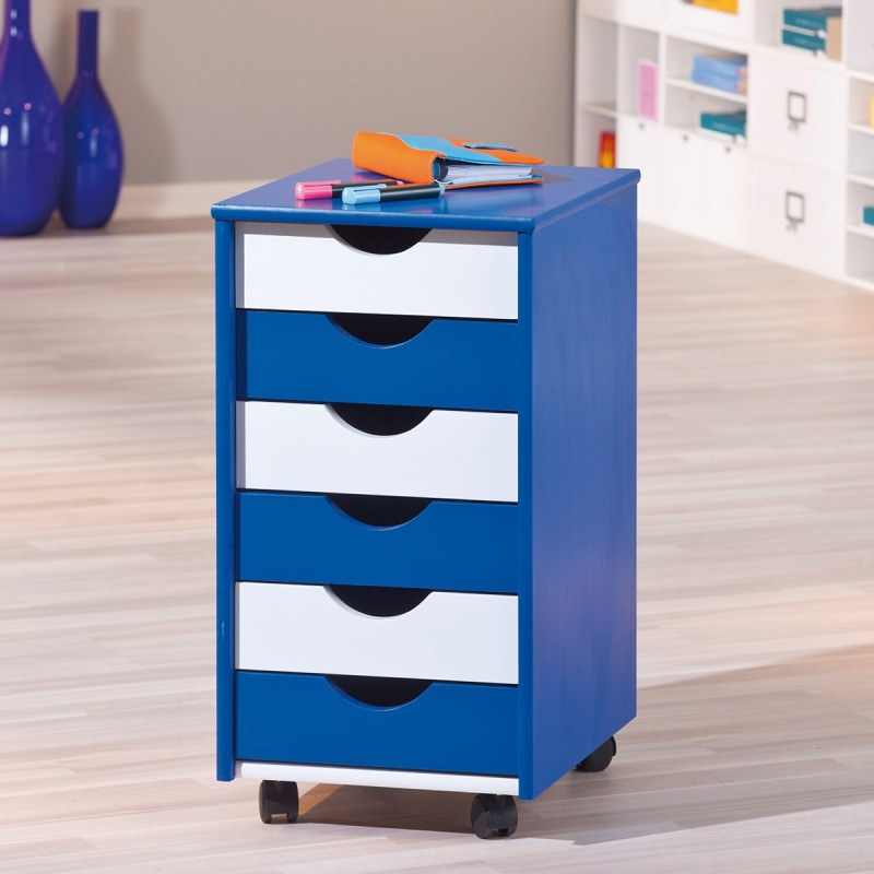 caisson de bureau 6 tiroirs school bleu blanc. Black Bedroom Furniture Sets. Home Design Ideas