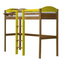 "Lit Mezzanine Central Haut ""Maximus"" 90x190cm Naturel & Jaune"
