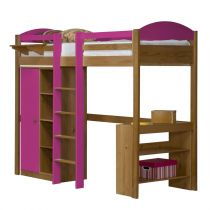 "Pack 1 - Lit Mezzanine Central Haut ""Maximus"" 90x190cm Naturel & Fuchsia"