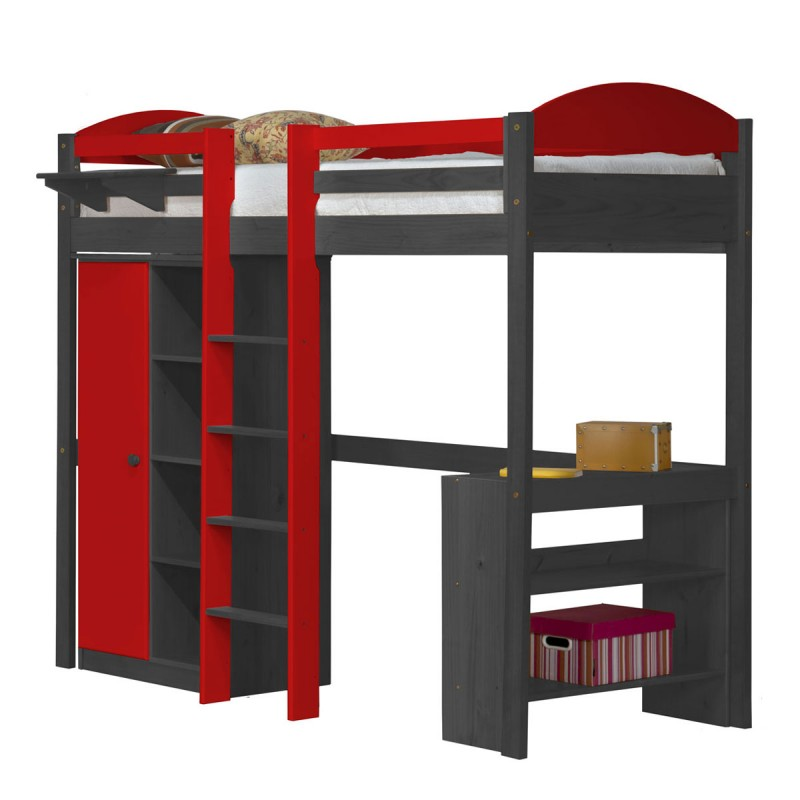 pack 1 lit mezzanine central haut maximus 90x190cm graphite rouge. Black Bedroom Furniture Sets. Home Design Ideas