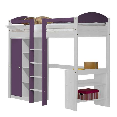 pack 1 lit mezzanine central haut maximus 90x190cm blanc lilas. Black Bedroom Furniture Sets. Home Design Ideas
