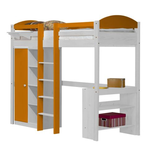 pack 1 lit mezzanine central haut maximus 90x190cm blanc orange. Black Bedroom Furniture Sets. Home Design Ideas