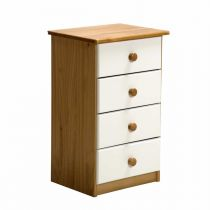"Commode 4 Tiroirs ""Verona"" 74cm Naturel & Blanc"