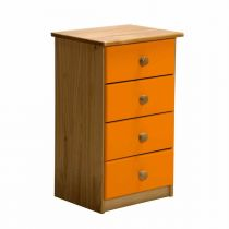 "Commode 4 Tiroirs ""Verona"" 74cm Naturel & Orange"