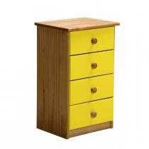 "Commode 4 Tiroirs ""Verona"" 74cm Naturel & Jaune"