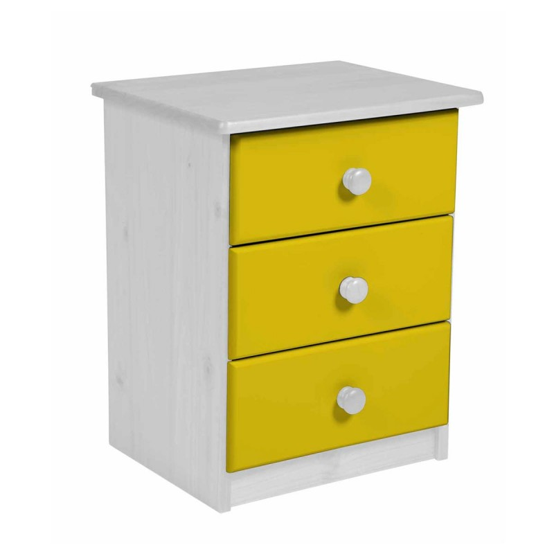 table de chevet 3 tiroirs verona 58cm blanc jaune. Black Bedroom Furniture Sets. Home Design Ideas