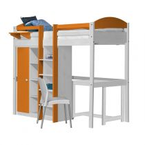 "Pack 2 - Lit Mezzanine Central Haut ""Maximus"" 90x190cm Blanc & Orange"