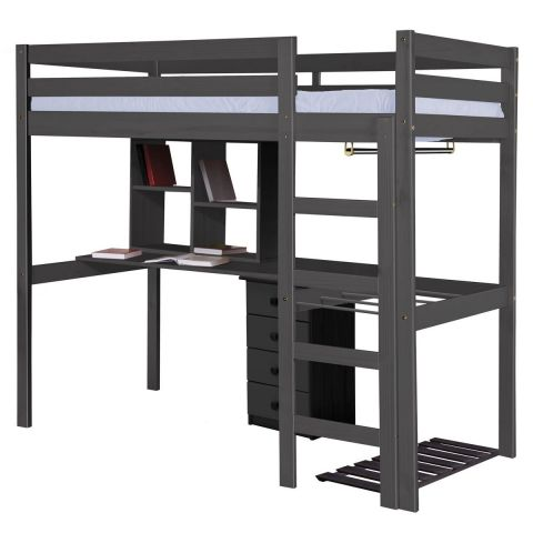 pack 1 lit mezzanine haut rimini 90x190cm graphite. Black Bedroom Furniture Sets. Home Design Ideas