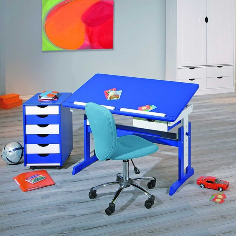 bureau enfant pupitre school blanc bleu. Black Bedroom Furniture Sets. Home Design Ideas