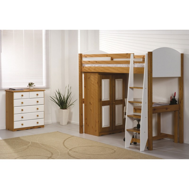 pack 3 lit mezzanine haut verona 90x190cm naturel blanc. Black Bedroom Furniture Sets. Home Design Ideas