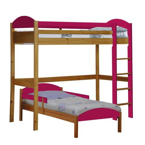 pack 3 lit mezzanine haut maximus 90x190cm naturel fuchsia. Black Bedroom Furniture Sets. Home Design Ideas