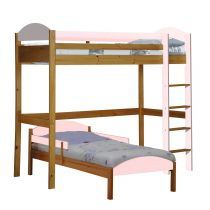 "Pack 3 - Lit Mezzanine Haut ""Maximus"" 90x190cm Naturel & Rose"