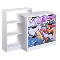 "Commode 3 Tiroirs ""Kids Graffiti"" Blanc"