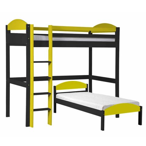 pack 3 lit mezzanine haut maximus 90x190cm graphite jaune. Black Bedroom Furniture Sets. Home Design Ideas