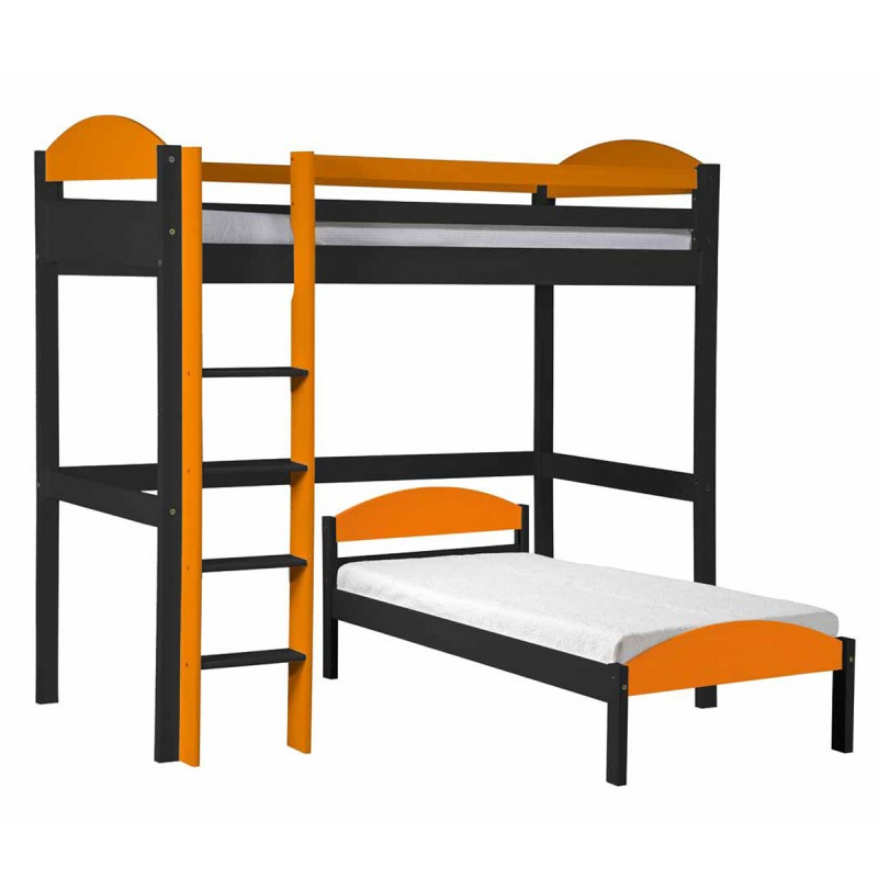 pack 3 lit mezzanine haut maximus 90x190cm graphite orange. Black Bedroom Furniture Sets. Home Design Ideas