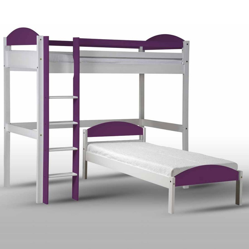 pack 3 lit mezzanine haut maximus 90x190cm blanc lilas. Black Bedroom Furniture Sets. Home Design Ideas