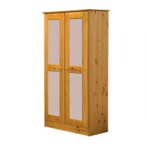 "Armoire 2 Portes ""Verona"" Naturel & Rose"