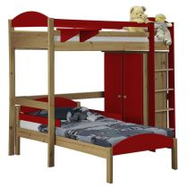 "Pack 1 - Lit Mezzanine Haut ""Maximus"" 90x190cm Naturel & Rouge"