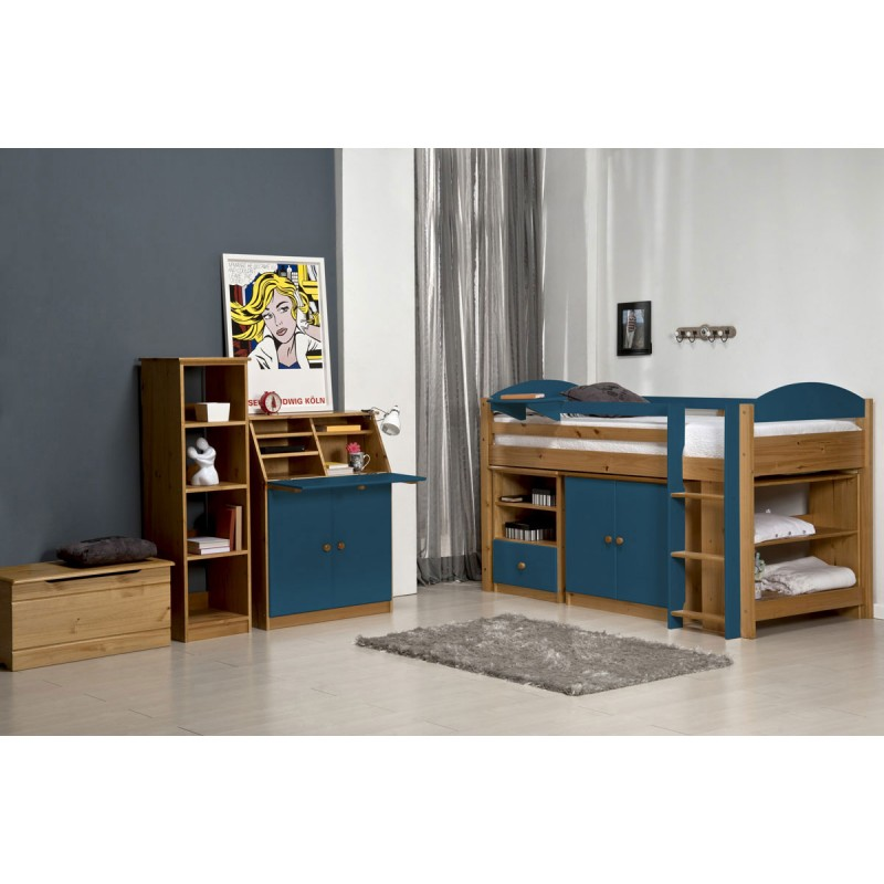 lit mezzanine mi haut maximus 90x190cm naturel bleu. Black Bedroom Furniture Sets. Home Design Ideas