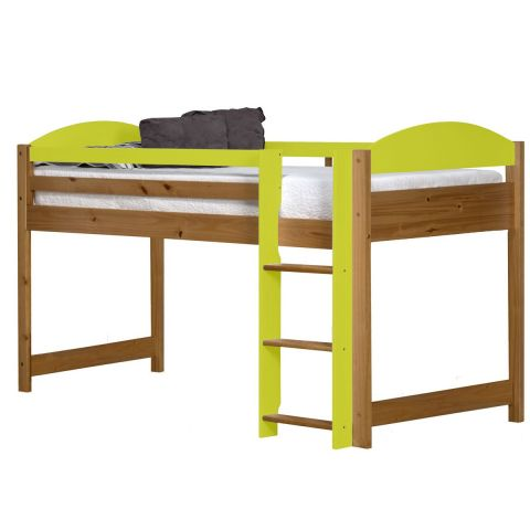 lit mezzanine mi haut maximus 90x190cm naturel jaune. Black Bedroom Furniture Sets. Home Design Ideas
