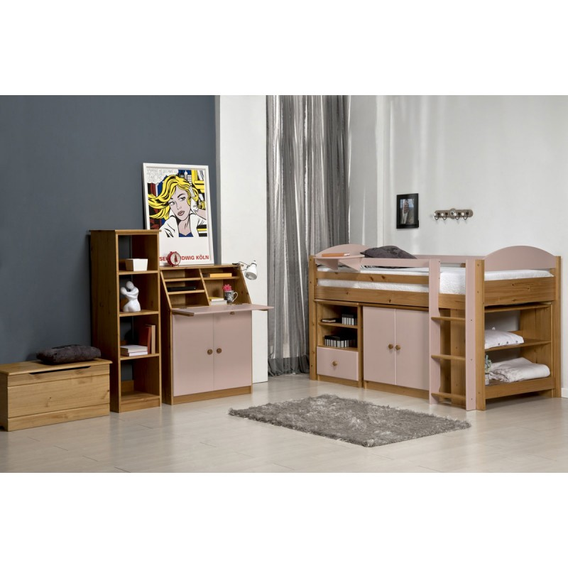 lit mezzanine mi haut maximus 90x190cm naturel rose. Black Bedroom Furniture Sets. Home Design Ideas
