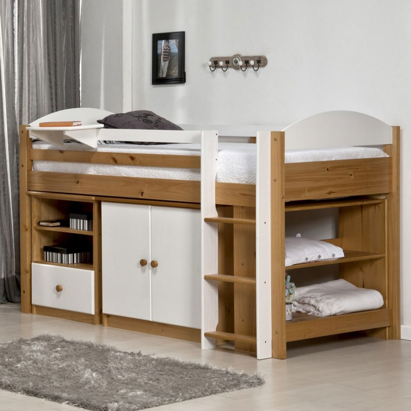 lit mezzanine mi haut maximus 90x190cm naturel blanc. Black Bedroom Furniture Sets. Home Design Ideas
