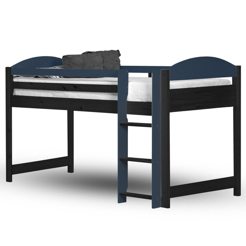 lit mezzanine mi haut maximus 90x190cm graphite bleu. Black Bedroom Furniture Sets. Home Design Ideas