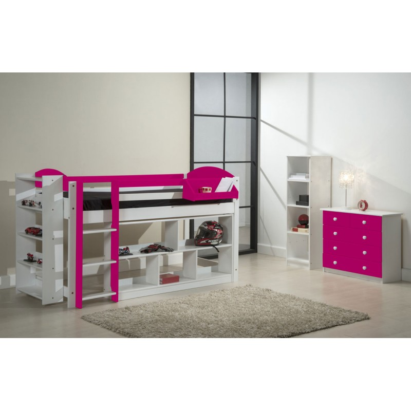lit mezzanine mi haut maximus 90x190cm blanc fuchsia. Black Bedroom Furniture Sets. Home Design Ideas