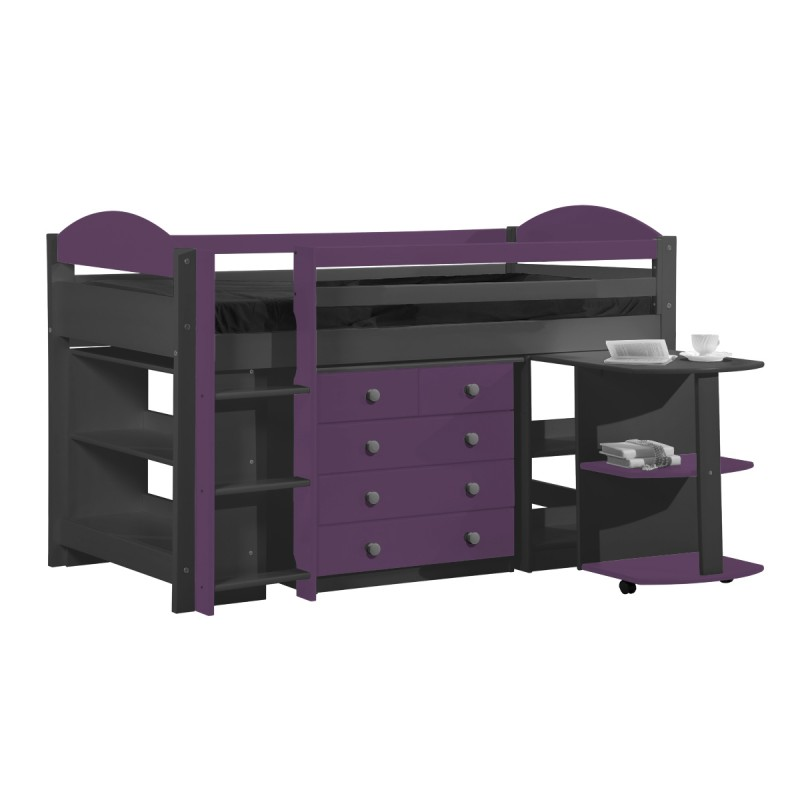 pack 1 lit mezzanine mi haut maximus 90x190cm graphite lilas. Black Bedroom Furniture Sets. Home Design Ideas