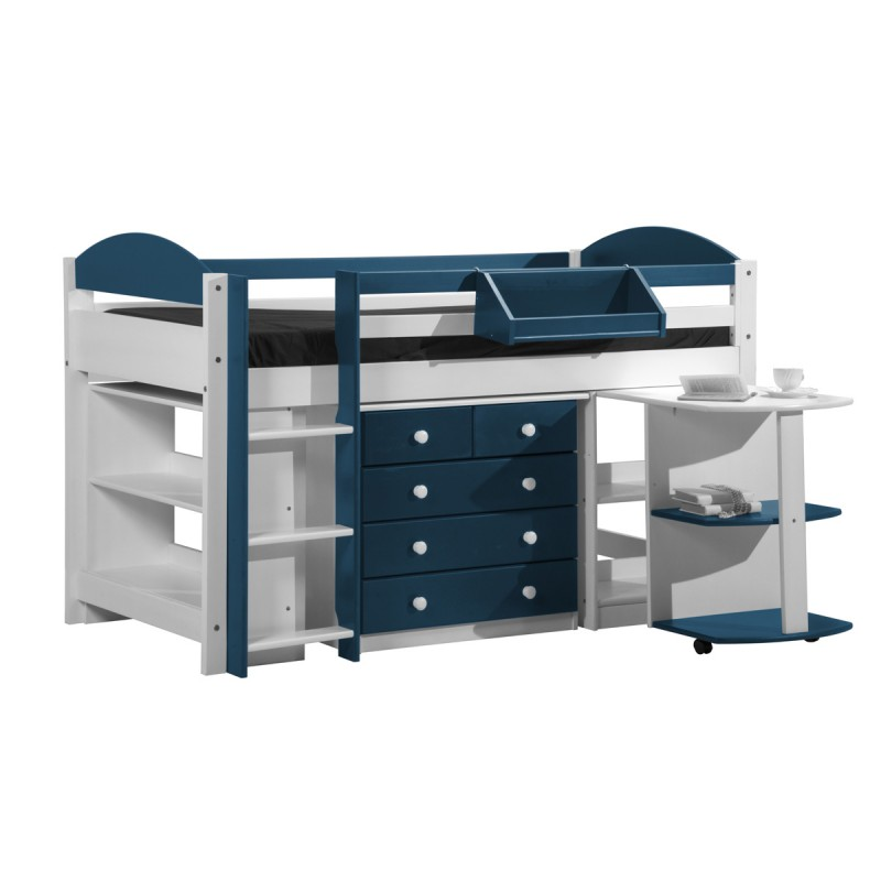 pack 1 lit mezzanine mi haut maximus 90x190cm blanc bleu. Black Bedroom Furniture Sets. Home Design Ideas