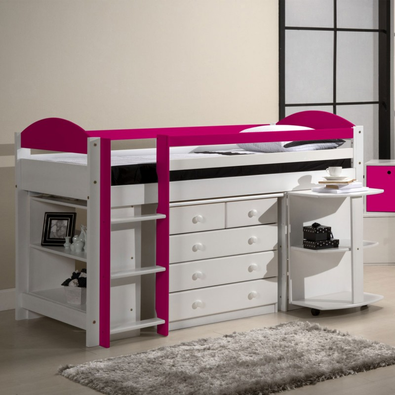 pack 1 lit mezzanine mi haut maximus 90x190cm blanc fuchsia. Black Bedroom Furniture Sets. Home Design Ideas