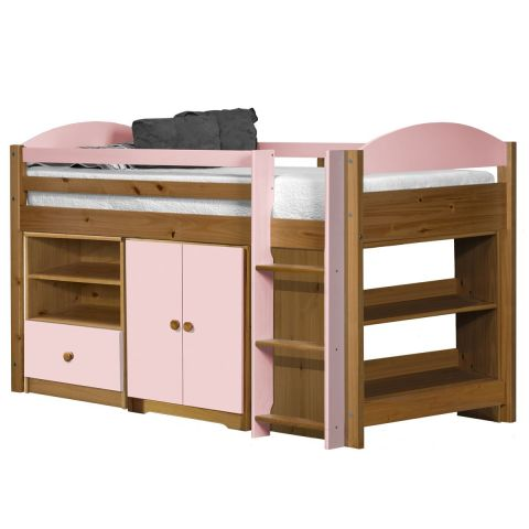 pack 2 lit mezzanine mi haut maximus 90x190cm naturel rose. Black Bedroom Furniture Sets. Home Design Ideas