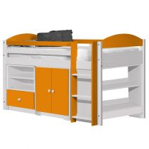 "Pack 2 - Lit Mezzanine Mi-Haut ""Maximus"" 90x190cm Blanc & Orange"