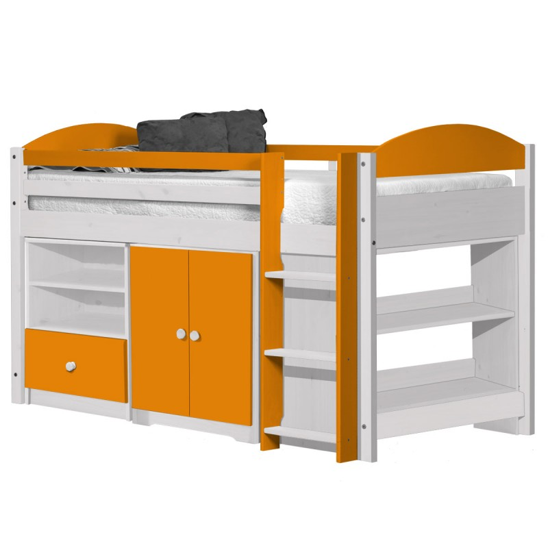 pack 2 lit mezzanine mi haut maximus 90x190cm blanc orange. Black Bedroom Furniture Sets. Home Design Ideas