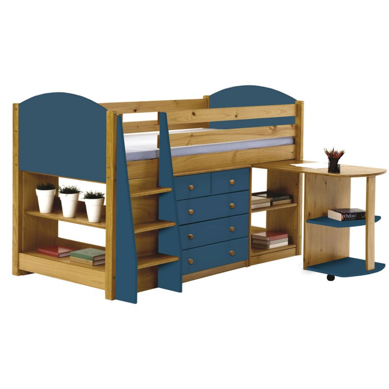 pack 1 lit mezzanine mi haut verona 90x190cm naturel bleu. Black Bedroom Furniture Sets. Home Design Ideas