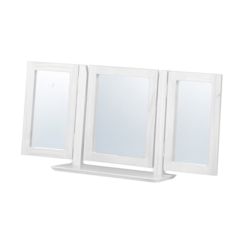 miroir coiffeuse 3 faces verona 101cm blanc. Black Bedroom Furniture Sets. Home Design Ideas