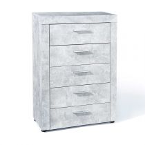 "Commode 5 Tiroirs ""Concrete"" Gris"