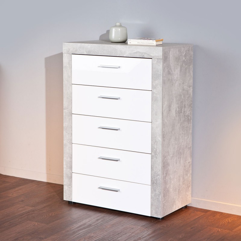 Commode 5 Tiroirs Concrete Gris Blanc