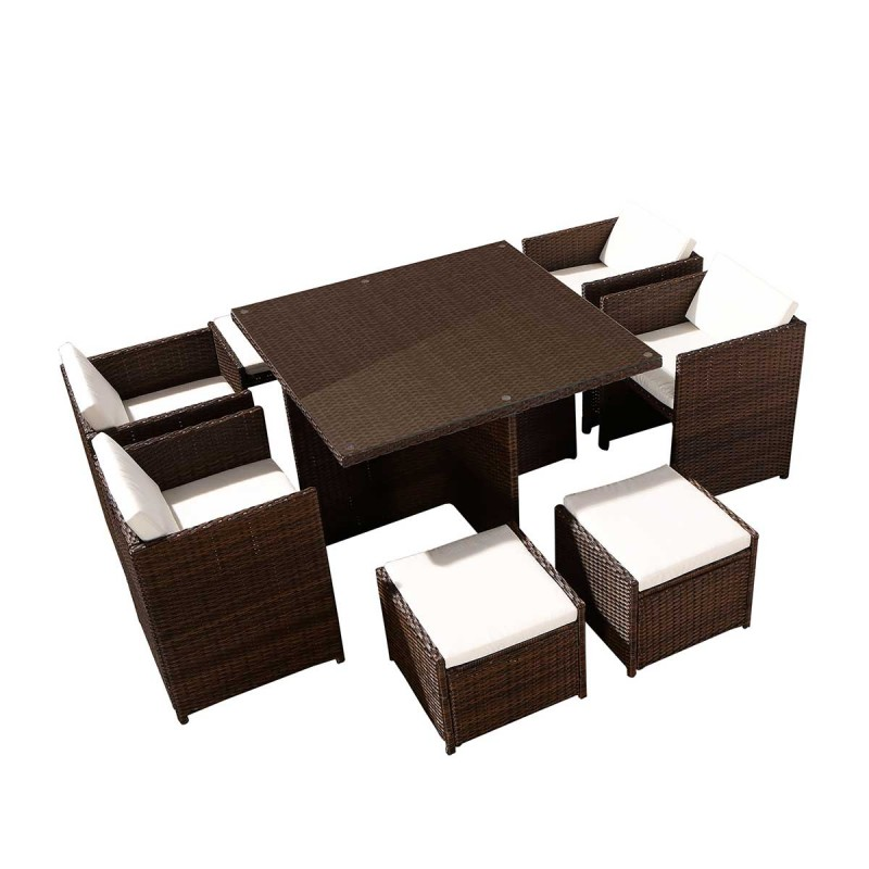salon de jardin en r sine rhodes 8 places marron cru. Black Bedroom Furniture Sets. Home Design Ideas