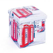 "Pouf Pliable ""London"" 38cm Blanc & Rouge"