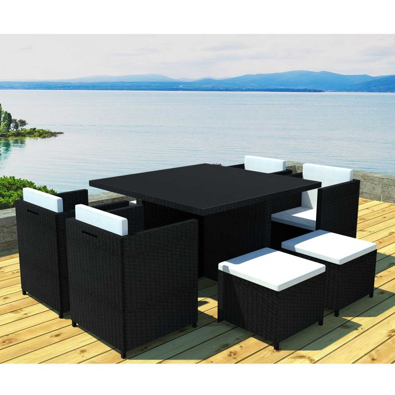 salon de jardin en r sine rhodes 8 places noir cru. Black Bedroom Furniture Sets. Home Design Ideas