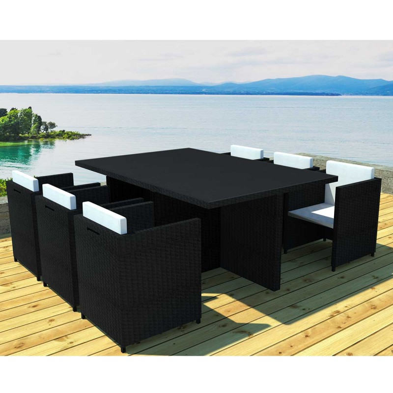 salon de jardin en r sine miami 6 places noir cru. Black Bedroom Furniture Sets. Home Design Ideas