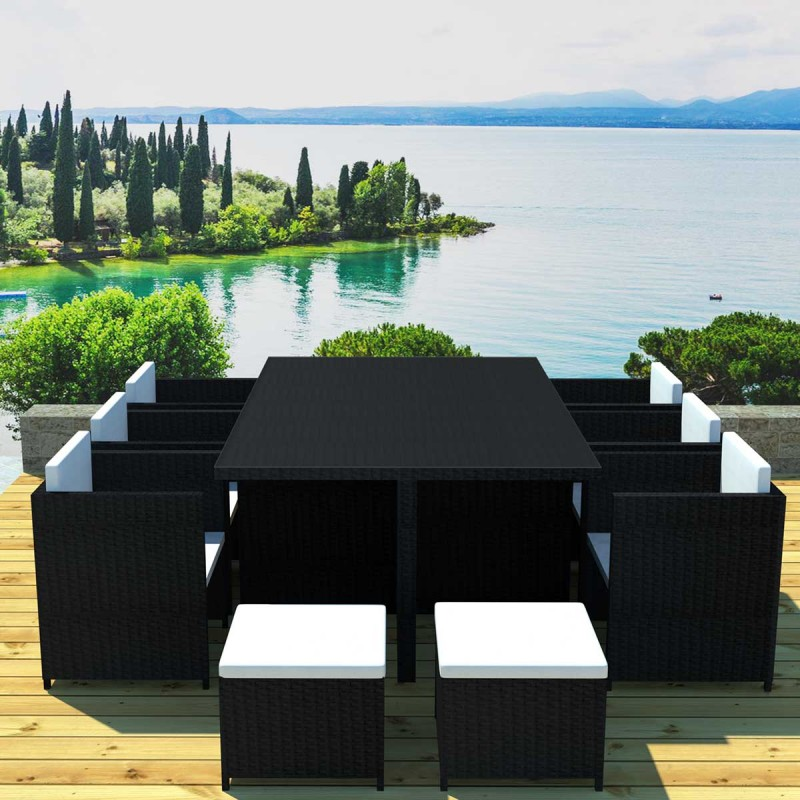 salon de jardin en r sine madrid 10 places noir cru. Black Bedroom Furniture Sets. Home Design Ideas
