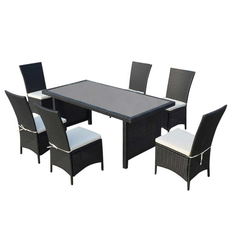 Ensemble table 6 chaises de jardin cancun noir cru for Ensemble table jardin